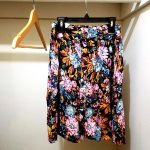 Lily White Front-Button Floral Skirt